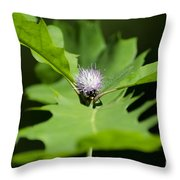 Green Oak Leaf And Flower Throw Pillow