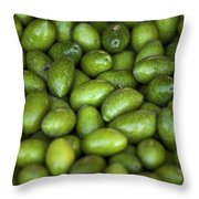 Green Olives Throw Pillow by Joana Kruse