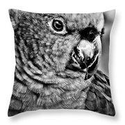 Green Parrot - Bw Throw Pillow