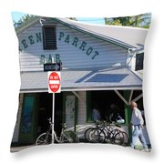 Green Parrot Bar In Key West Throw Pillow