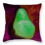 Green Pear Reflection Throw Pillow