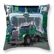 Green Peterbilt Dbl. Exposure Throw Pillow