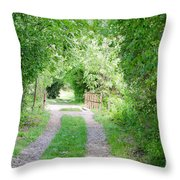 Green Road Throw Pillow