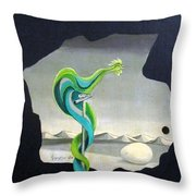 Green Rooster Call 2 In Surrealistic Frame Background Blue Tail Feathers Mountains Landscape And Egg Throw Pillow