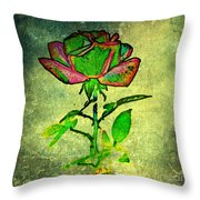 Green Rose Throw Pillow