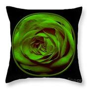 Green Rose On Black Throw Pillow