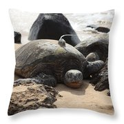 Green Sea Turtle With Gps Throw Pillow