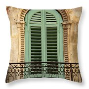 Green Shutters And Balcony In Verona Throw Pillow