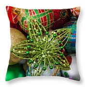 Green Star Christmas Ornament Throw Pillow by Garry Gay