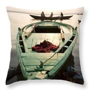 Green Stationary Boat At Waters Edge Throw Pillow