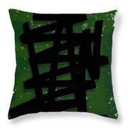 Green Stroke Throw Pillow
