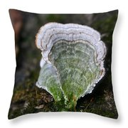 Green Turkey Tails Throw Pillow