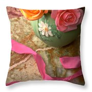 Green Vase With Roses Throw Pillow