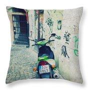 Green Vespa In Prague Throw Pillow