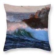 Green Waves Pastel Throw Pillow