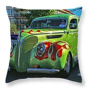 Green With Flames Hdr Throw Pillow