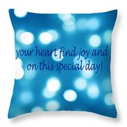 Greeting Card Blue With White Lights Throw Pillow