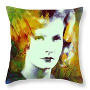 Greta Garbo Abstract Pop Art Throw Pillow