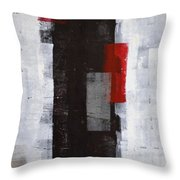 Power Trip - Grey And Red Abstract Art Painting Throw Pillow