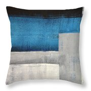 Straight Forward - Teal And Grey Abstract Art Painting Throw Pillow