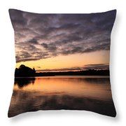 Grey Clouds And Orange Sunrise Throw Pillow