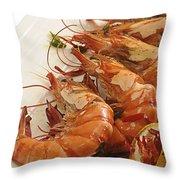 Grilled Prawns Throw Pillow