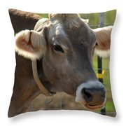 Grinning Cow Throw Pillow