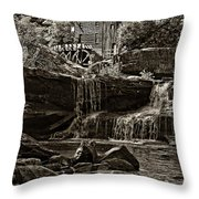 Grist Mill Babcock State Park - Sepia Throw Pillow