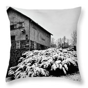 Grist Mill In Winter - Hdr Throw Pillow