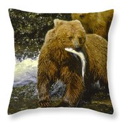 Grizzly Bear And Cubs Throw Pillow
