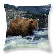 Grizzly Bear Fishing Throw Pillow