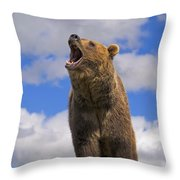 Grizzly Bear Roaring Throw Pillow
