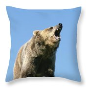Grizzly Bear Vocalizing Throw Pillow