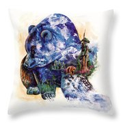 Grizzly Blue Throw Pillow