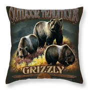Grizzly Traditions Throw Pillow by JQ Licensing