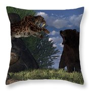 Grizzly Vs. Saber-tooth Throw Pillow