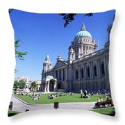 Group Of People Outside A Building Throw Pillow