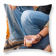 Group Of Teenagers Sitting And Drinking Tea Throw Pillow