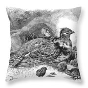 Grouse And Young Throw Pillow