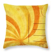 Grunge Ray On Old Postcard Throw Pillow