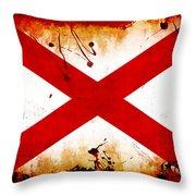 Grunge Style Alabama Flag Throw Pillow