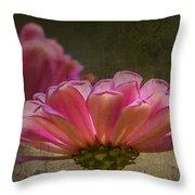 Grungey Pink Zinnia Delight Throw Pillow