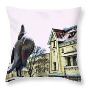 Guard Pigeon And Liberty Theater Throw Pillow