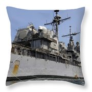 Guided Missile Cruiser Uss Bunker Hill Throw Pillow