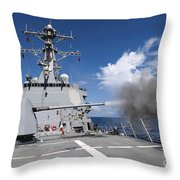 Guided-missile Destroyer Uss Pinckney Throw Pillow