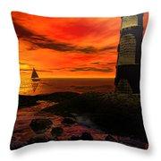 Guiding Light - Lighthouse Art Throw Pillow