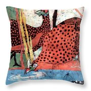 Guinea Fowl Drinking Throw Pillow