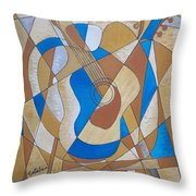 Guitar And Palette Throw Pillow