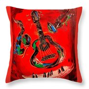 Guitar Jazz Throw Pillow