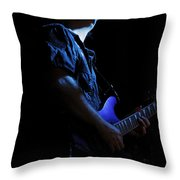 Guitarist In Blue Throw Pillow